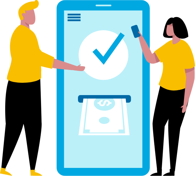 graphic design of two people next to large colorful smartphone with dollars coming out